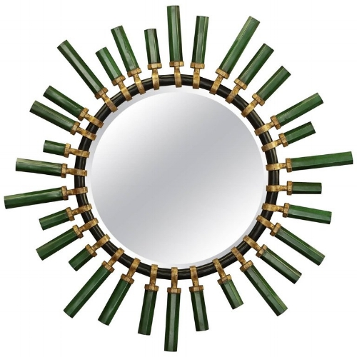 """{Emerald Green and Antique Gold Lacqured """"O'Clock Mirror"""". From:  1stDibs .}"""