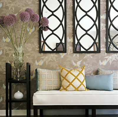 {A subtle mix of colors and textures invite you into this home. Fresh flowers are a great touch! By  D3 Interior Design .}