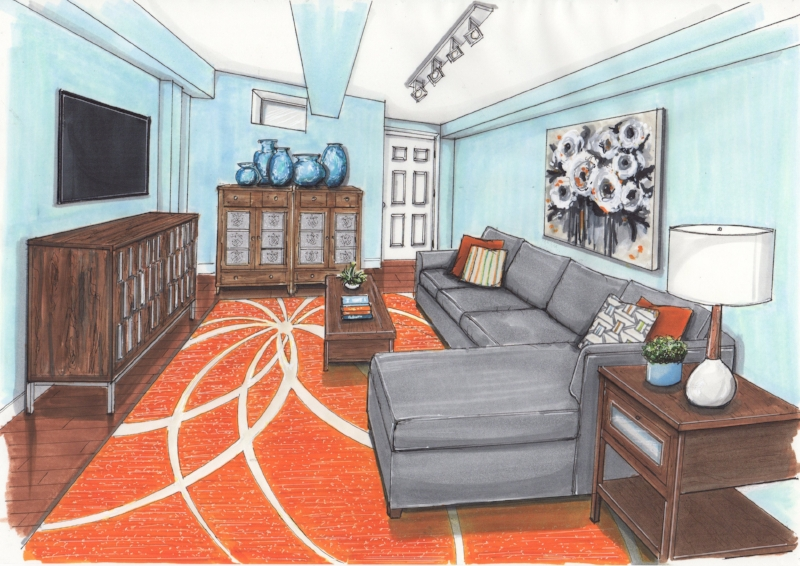 {Now that's what I call one happy family room! Design by  April Force Pardoe Interiors . Rendering by  Jane Gianarelli .}