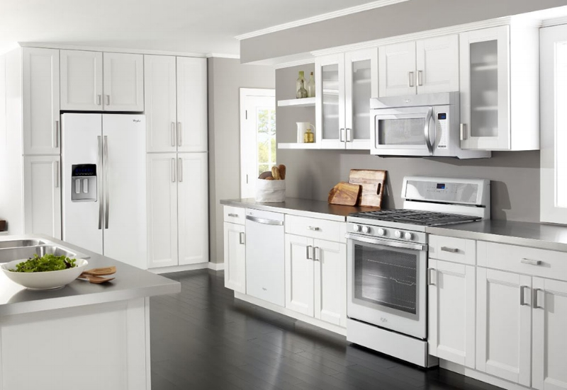 {White on white is a fresh way to go in you kitchen. From:  Whirlpool .}