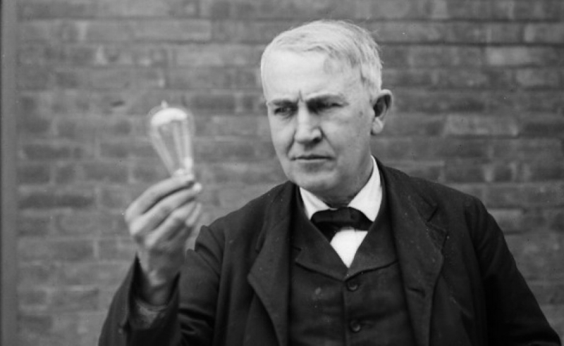 {In 1879 Thomas Edison, pictured, invented the light bulb.}