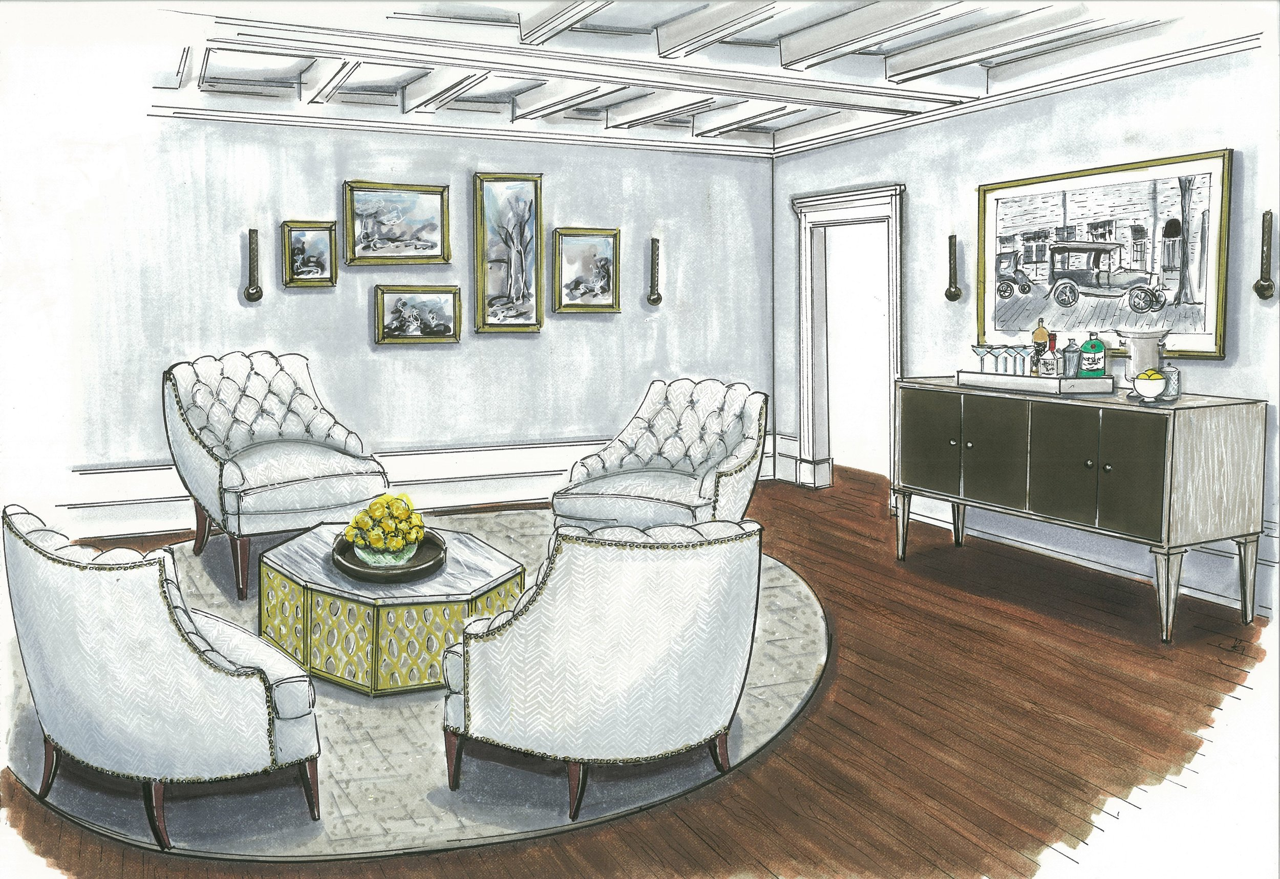 {The sophisticated and inviting conversation area showcases a gallery wall, featuring treasured photography prints. Rendering by  Jane Gianarelli .}