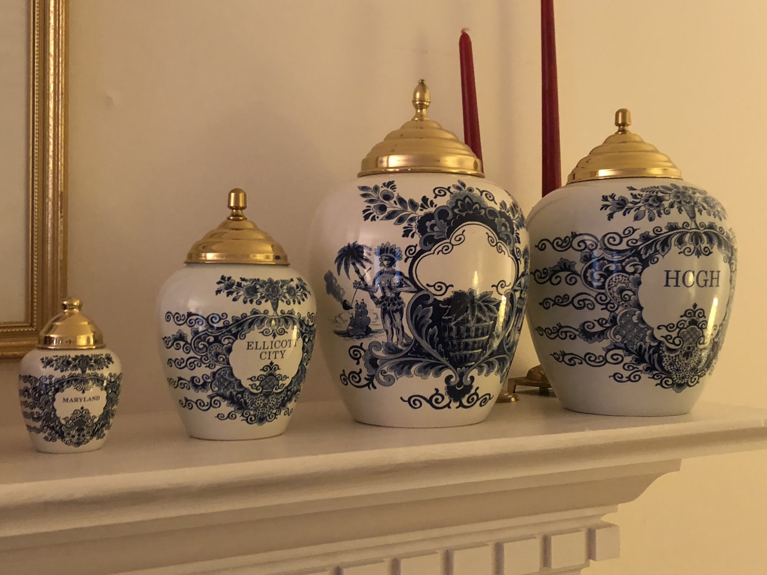 {These Delft tobacco jars are an extension of Debbie's unique collection.}