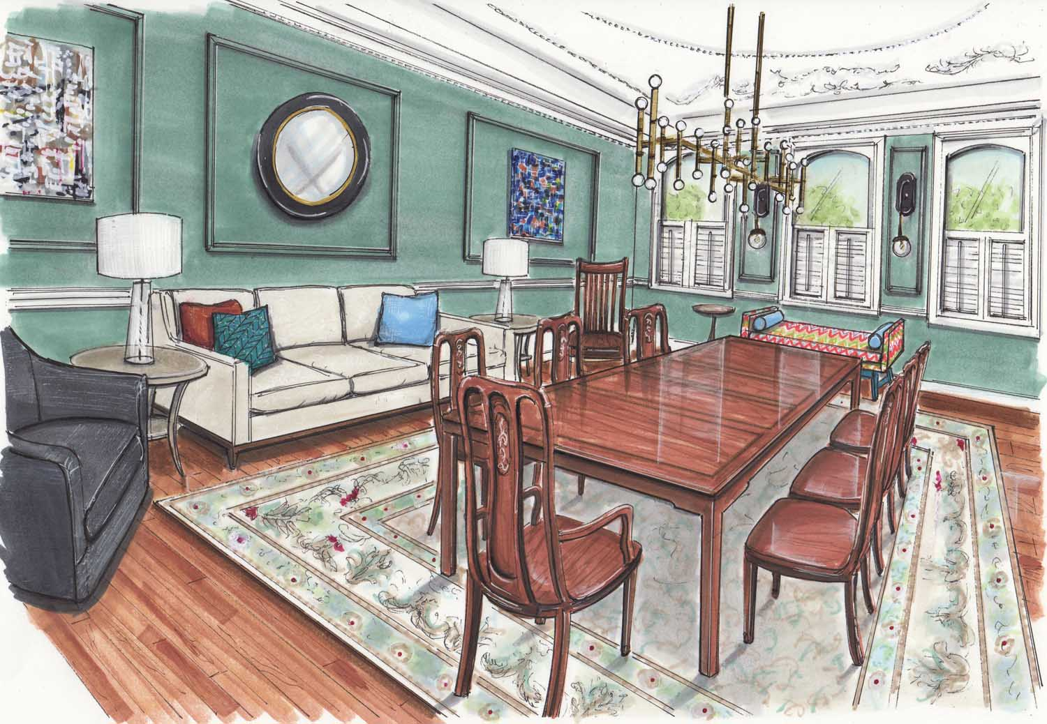 Baltimore Maryland Butchers Hill Dining Room Update Design Details Rendering – Designer Bestie April Force Pardoe Interiors.jpg