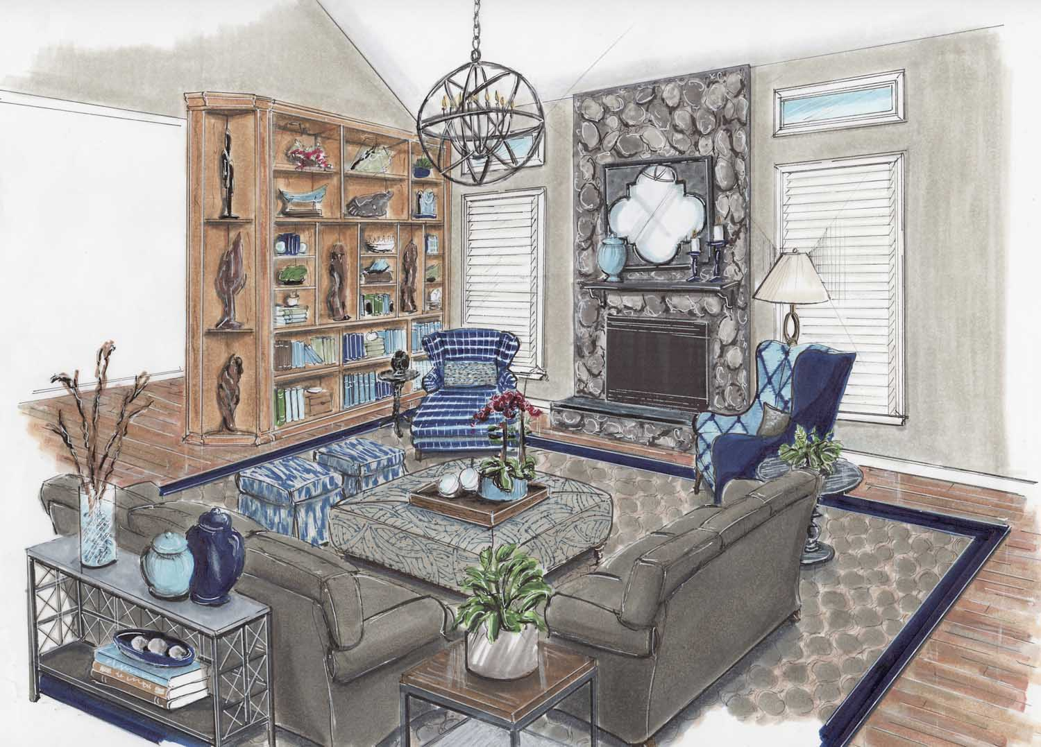 Laurel Maryland Great Room Two Story Family Room Design Details Rendering – Designer Bestie April Force Pardoe Interiors.jpg