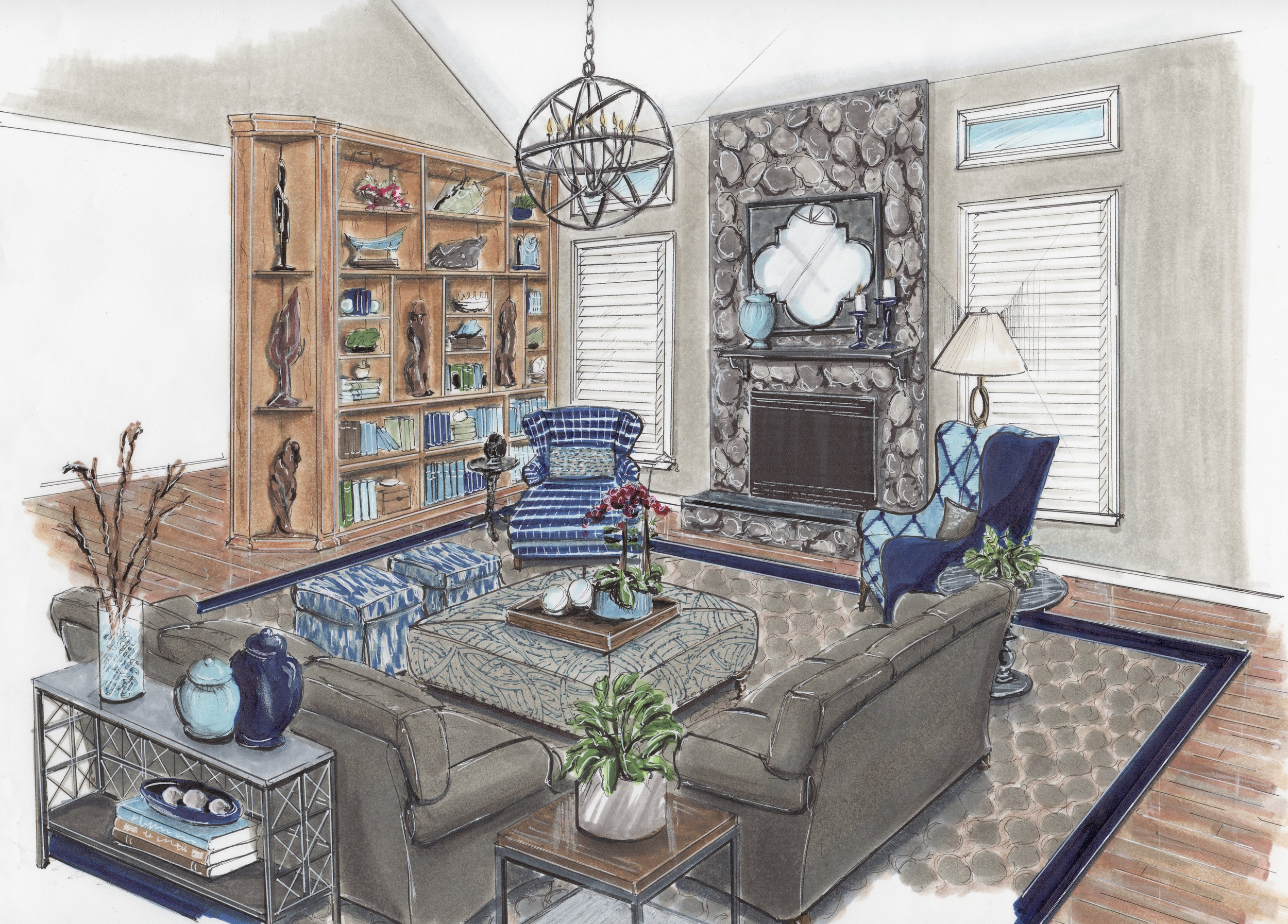 {A cozy family room, with plenty of seating, will serve many needs, design by April Force Pardoe Interiors}