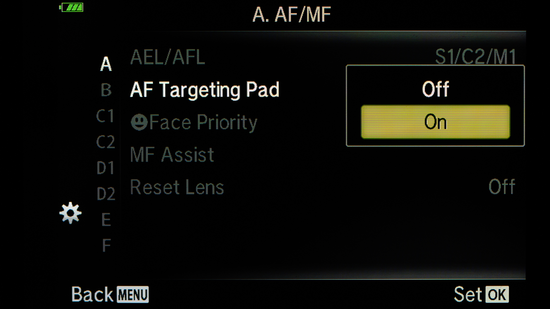 Turn on the AF Targeting Pad to choose the focus point from the LCD.