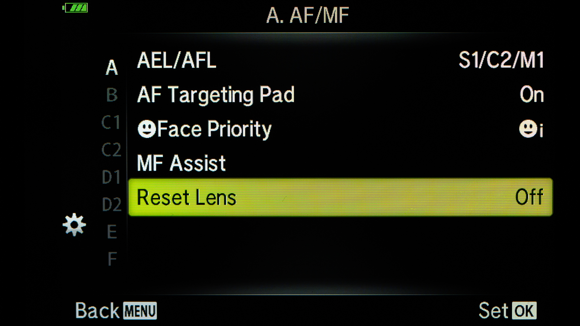 Turning the Reset Lens off, the 14-42mm Kit lens will strat from the focal length that was last used when the camera was turned off.