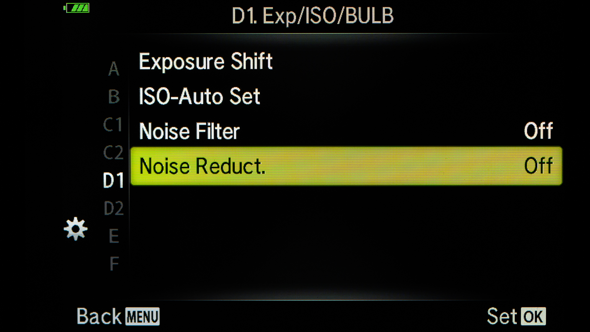 I will do my Noise Reduction in post and have turned the Noise Reduction Off in camera.