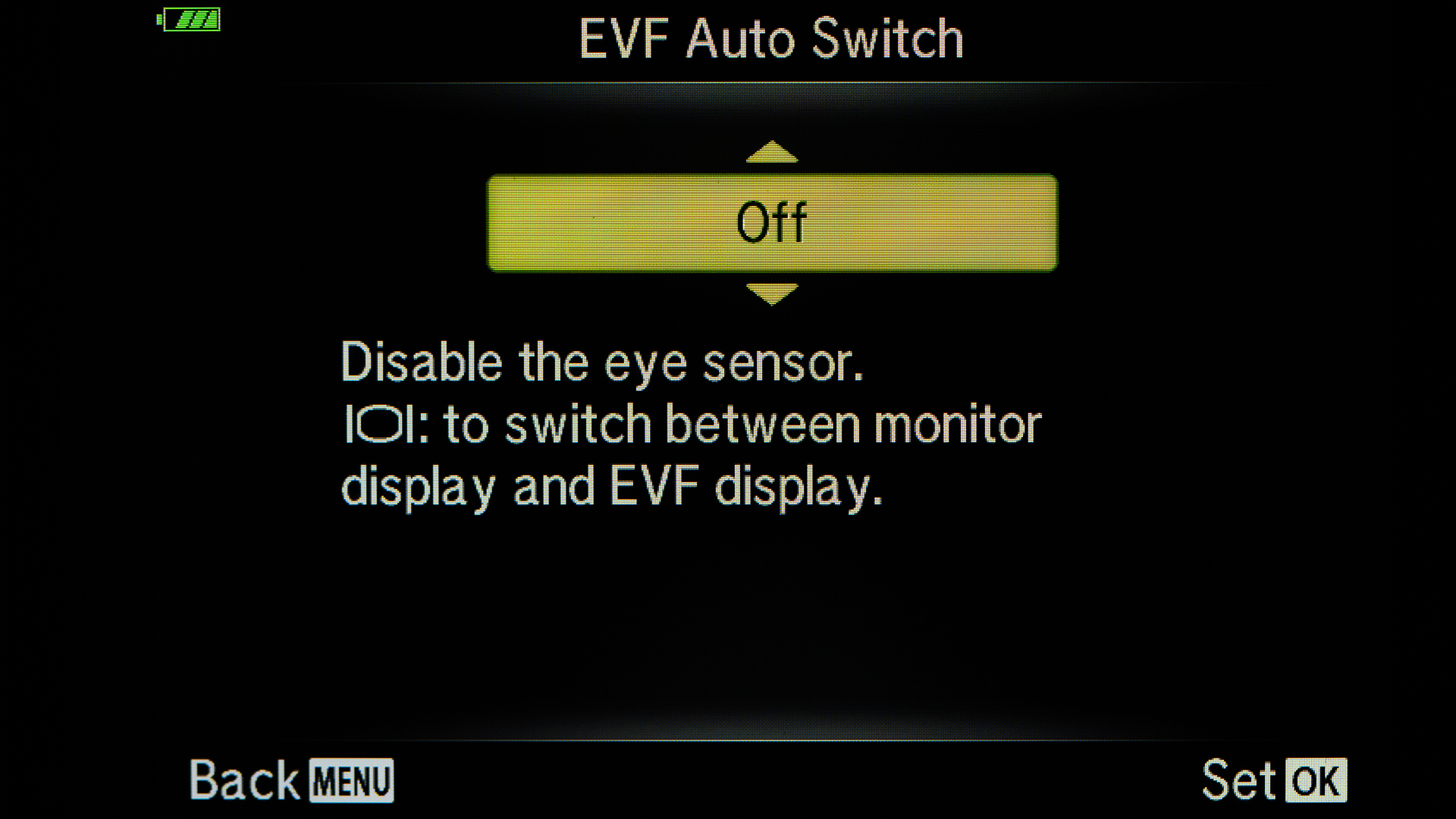 I like to toggle between EVF and LCD using the button on the side of the EVF. The automatic switch is a bit annoying.