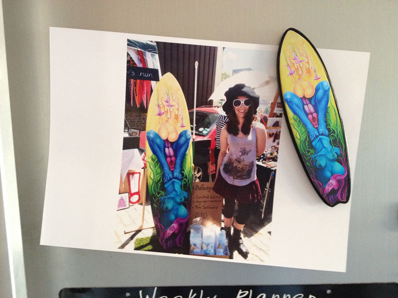 Jessica ballantyne, artist, surfboard, surfboard art, original art, oil painting, colourful, bright, vibrant, summer, london, brick lane, art car boot fair, art boot fair, Vauxhall car boot fair