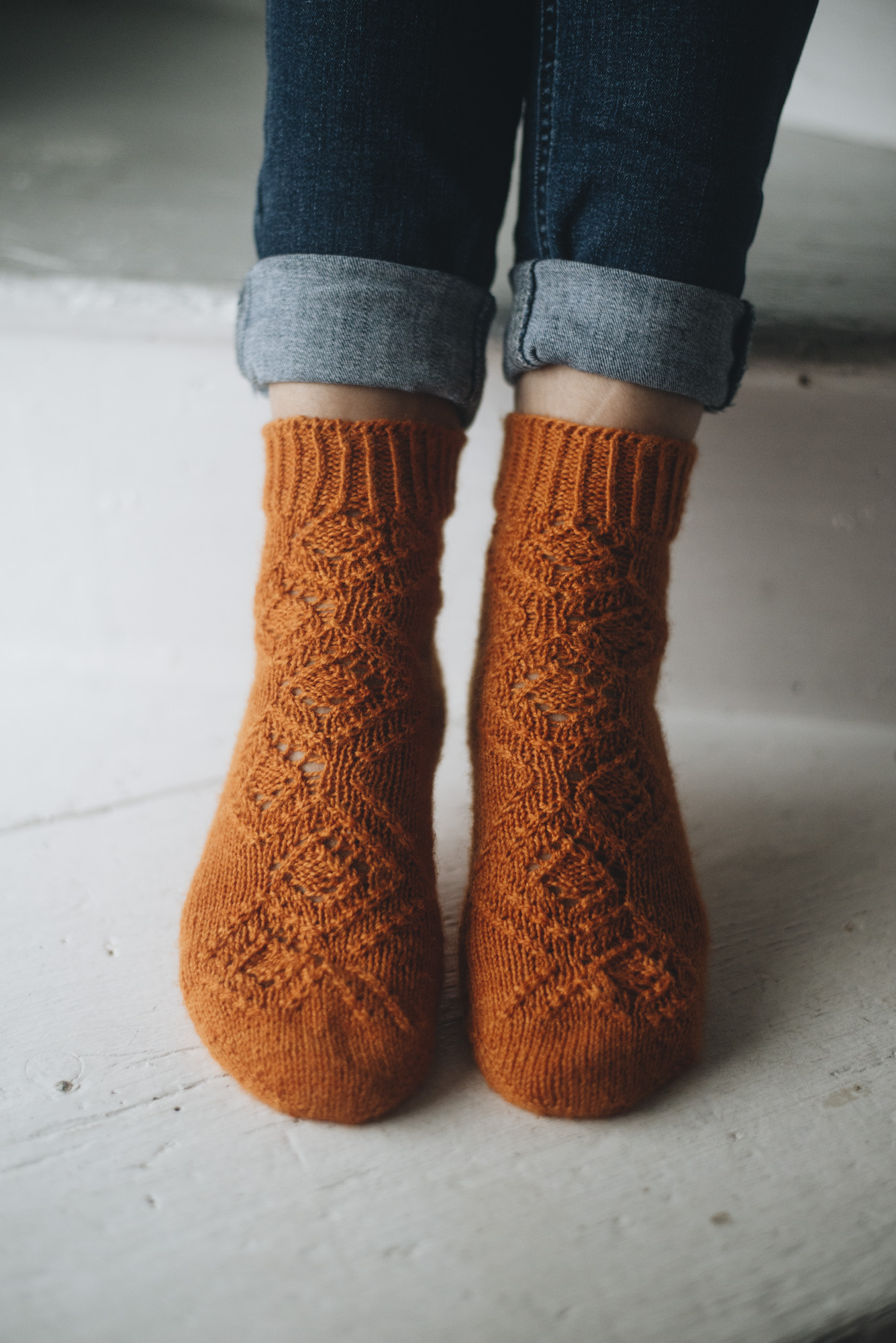 Pattern: First Fall Days Socks  Designer: HLH Designs  Yarn: Natural Sock (Designed in this yarn)