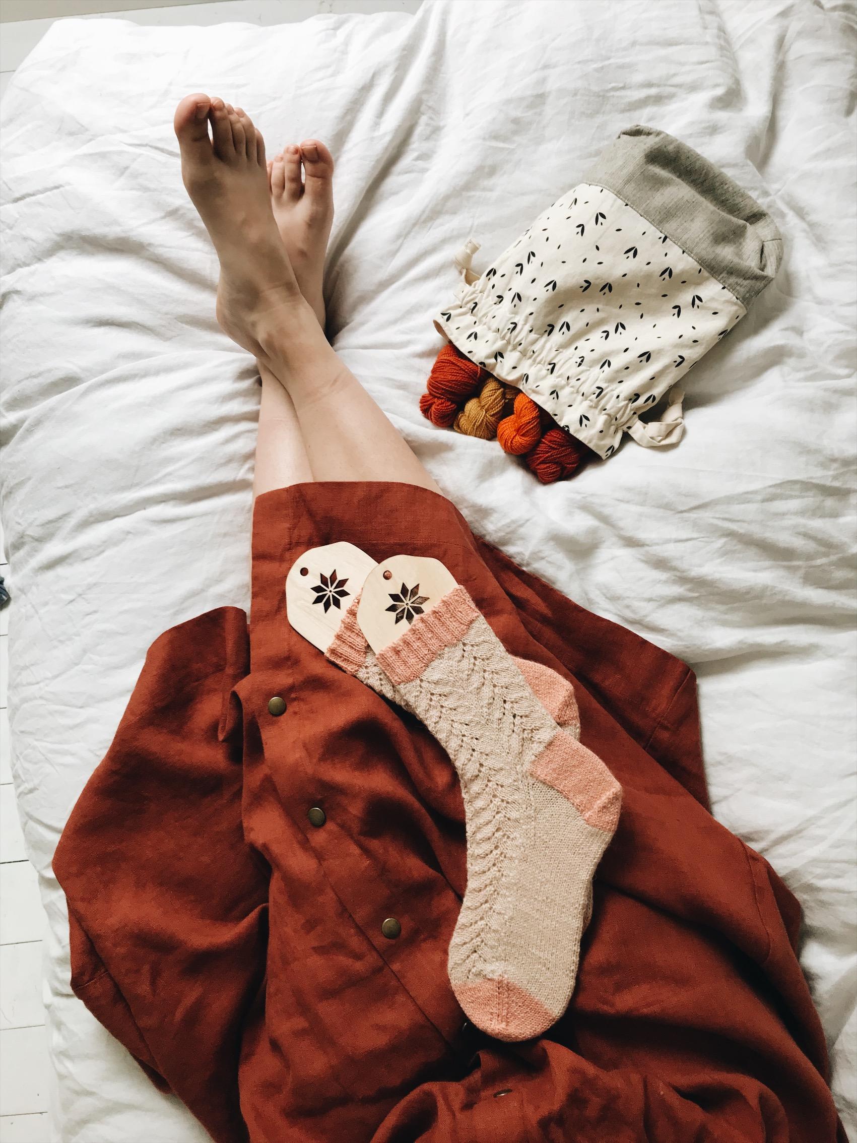 Pattern: Cinderella Socks  Designer: Sandra C Designs  Yarn: Natural Sock