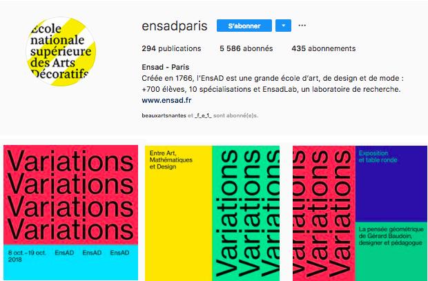 Instagram exemple type ENSAD