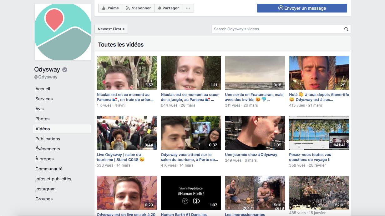Les lives d'Odysway sur Facebook