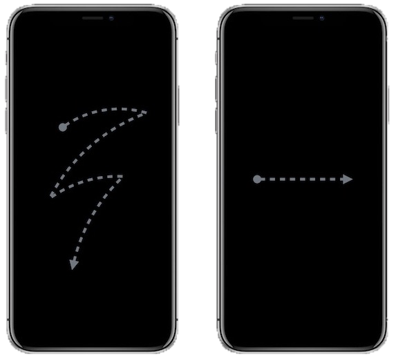 Image of two iPhones. First iPhone has zig-zag finger gesture going down and across middle of screen. Second iPhone has finger gesture going from left to right across middle of screen (images courtesy of Apple).