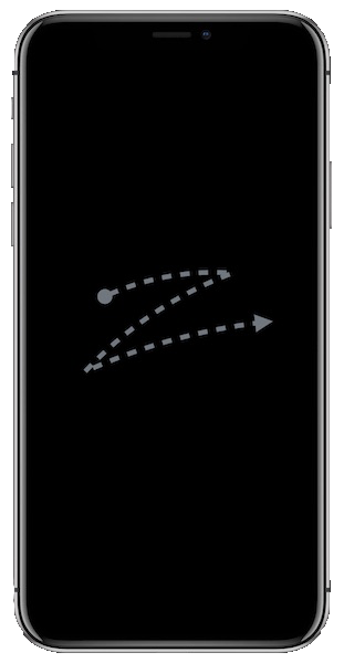 Image of iPhone has gesture of z-shape performed with two fingers in middle of screen (image courtesy of Apple).