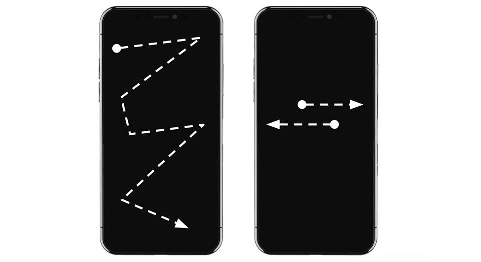 Two iPhones with illustration of gestures.