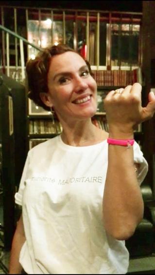 Noémie de Lattre avec le Bracelet Bretelle Rose framboise de Cocotte Power en 2018