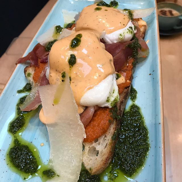New Brunch Menu... Joe's Benedict - Grilled Serrano Ham sourced from the Real Olive Stall at the English Market, Free Range Eggs, Chili and Lime Hollandaise, Parmesan Shavings, Salsa Verde and Italian Salsa Paste on Sourdough Toast #brunch #joesbrunch #joesandbros