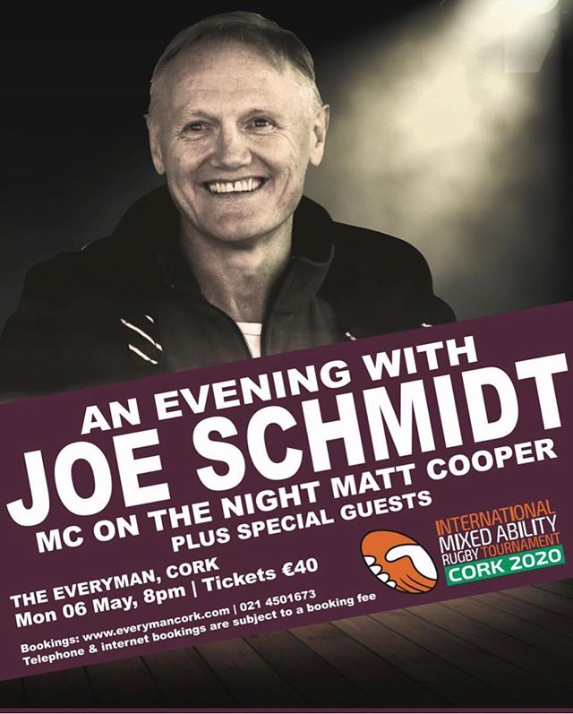 What an event we have coming up 😀 Tickets are flying out the door, hit the link below to join us all at the Everyman on the 6th of May.. In what will almost certainly be his last public appearance in Cork before departing for the World Cup and leaving Irish Rugby, Joe will reflect on his amazing career to date and discuss Ireland's performance over the past number of years and his hopes for the Rugby World Cup. The event is being run by Sundays Well RFC as a fundraiser in support of the 3rd International Mixed Ability Rugby World Cup (IMART) will be held in Cork next year. @sundayswellrfc @irishrugby  https://www.everymancork.com/2019/05/evening-with-joe-schmidt-and-guests/ #awaythewell #mixedabilityrugby