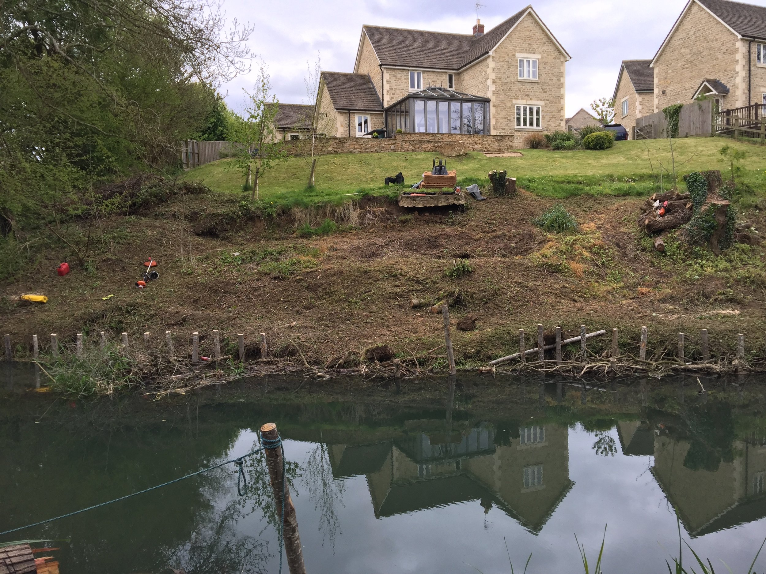 Mid works: Vegetation stripped back and live willow structure being installed at the toe of the bank.