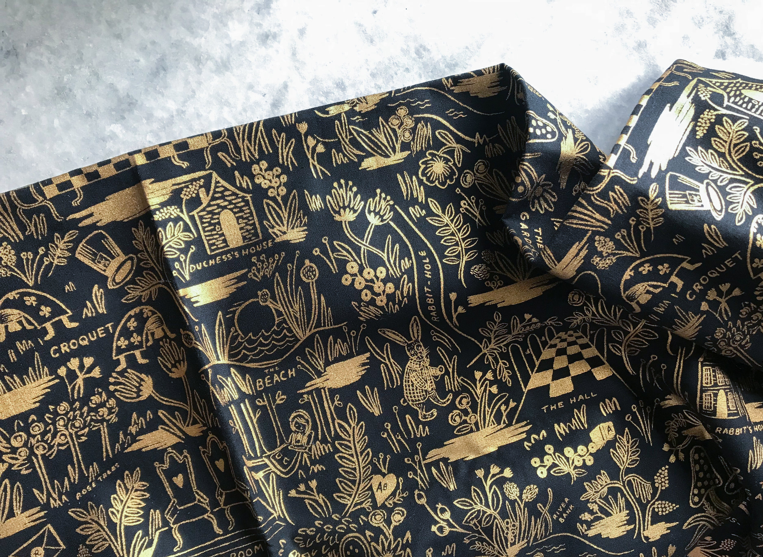 Gold screen printed fabric