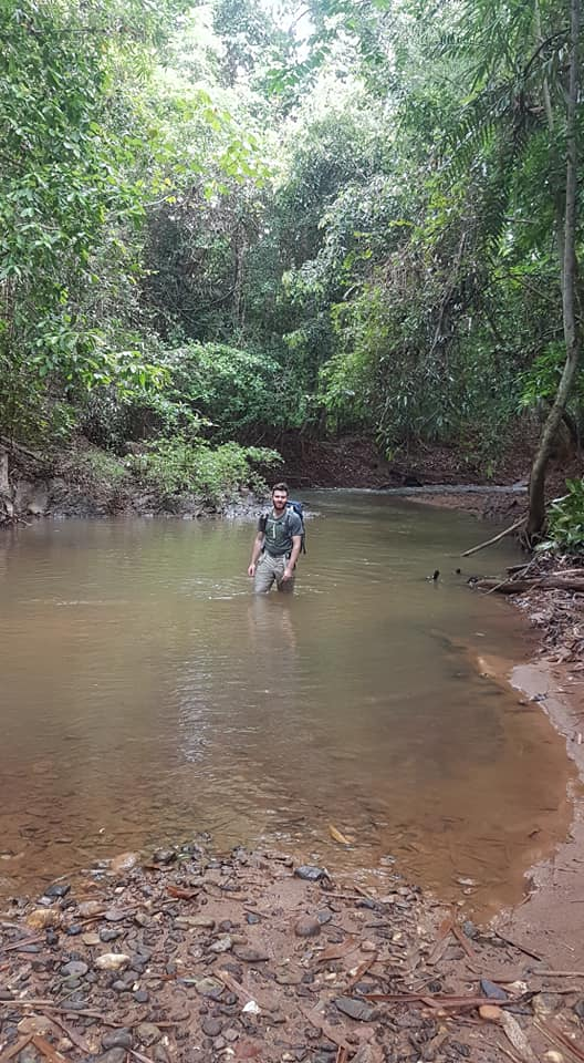 The things we do! Wading through one of the rivers in the Sungai Yu Forest Reserve. Photo Taken by Dr Teo Eng Wah, Vincent @Vince Adam.