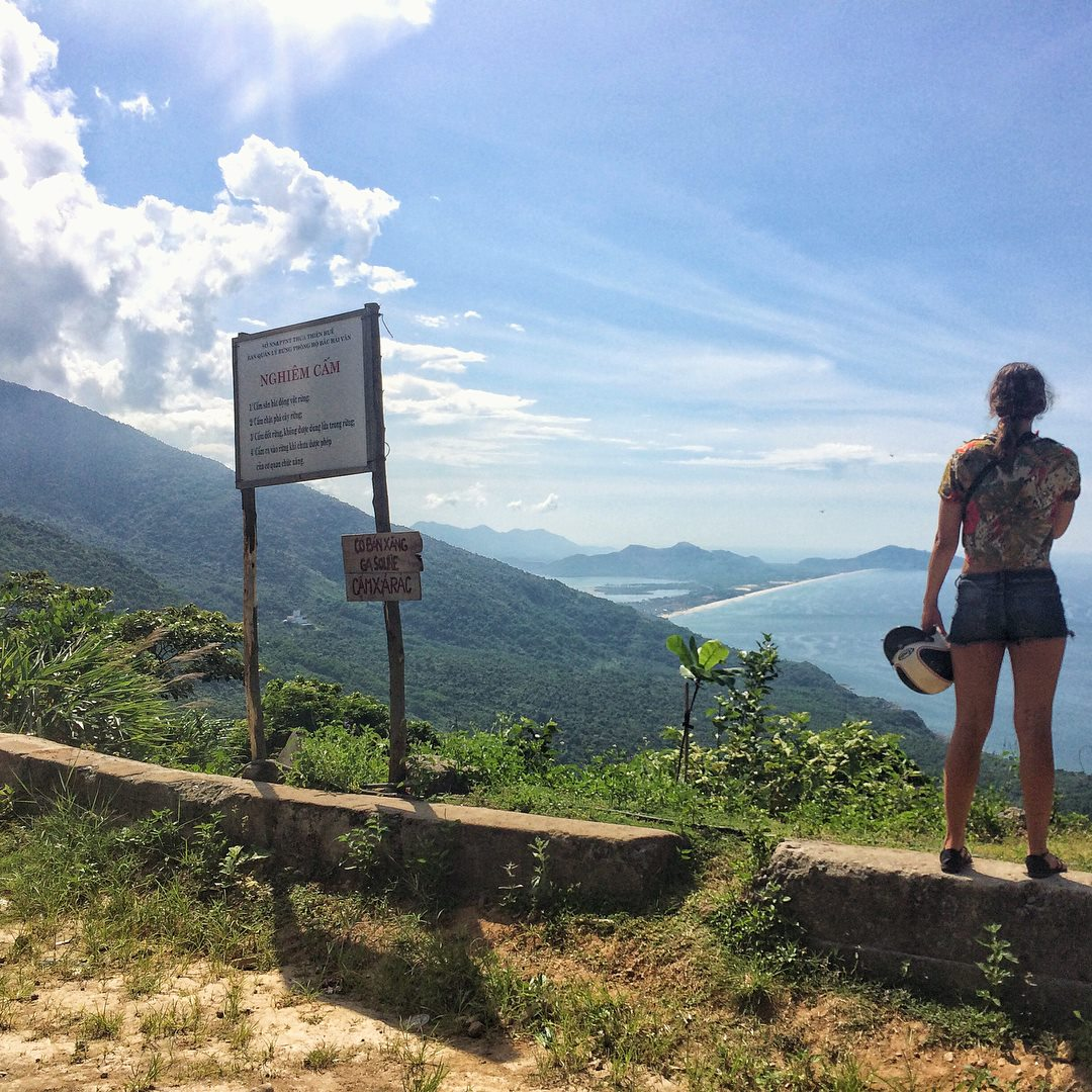 Taking in the sights of the Hai Van Pass in Vietnam.