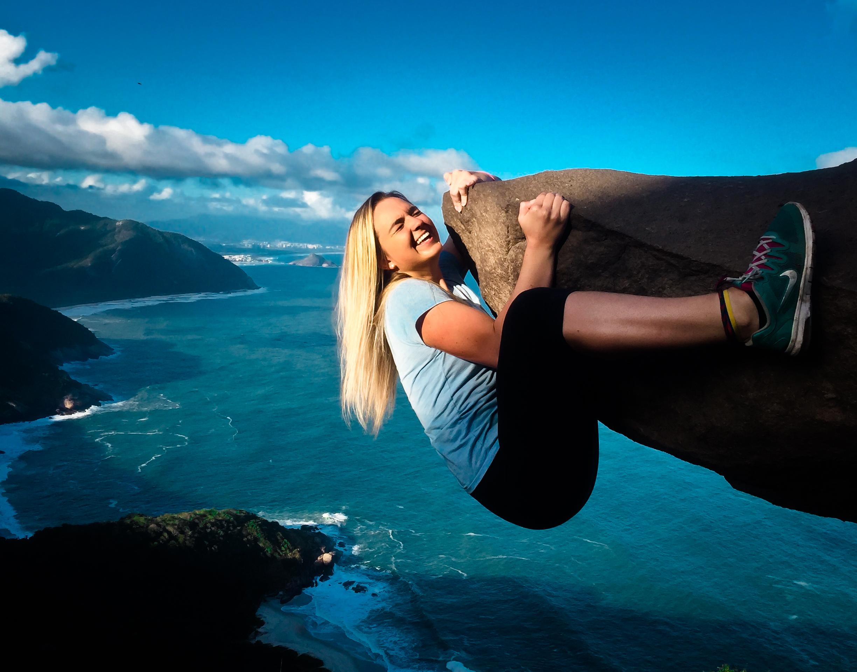 Megan hanging for dear life on Pedra Telegrafo in Brazil.