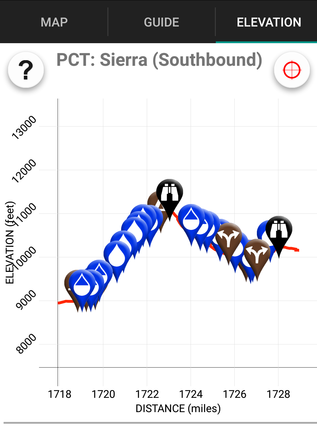 Elevation: It's a little up and down in the Sierras.