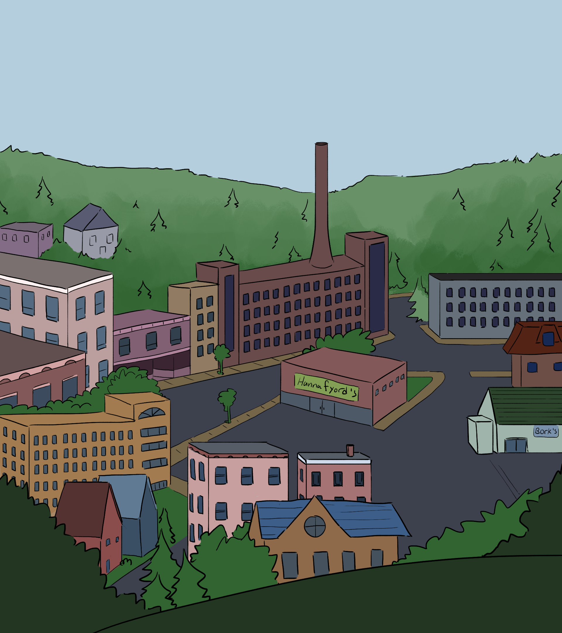 A city with lots of mills and pine trees.