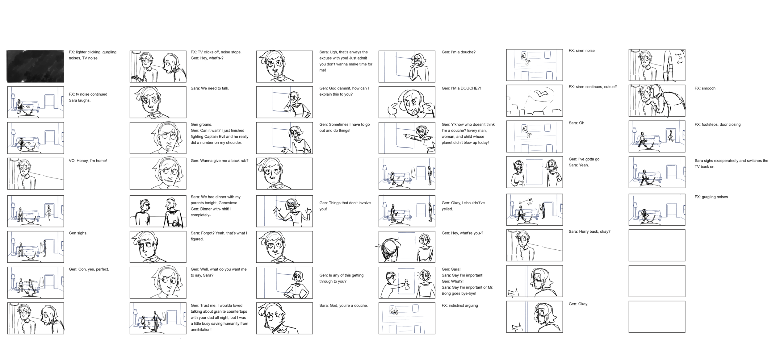 The first storyboard! Basically just marrying the script and the visuals.