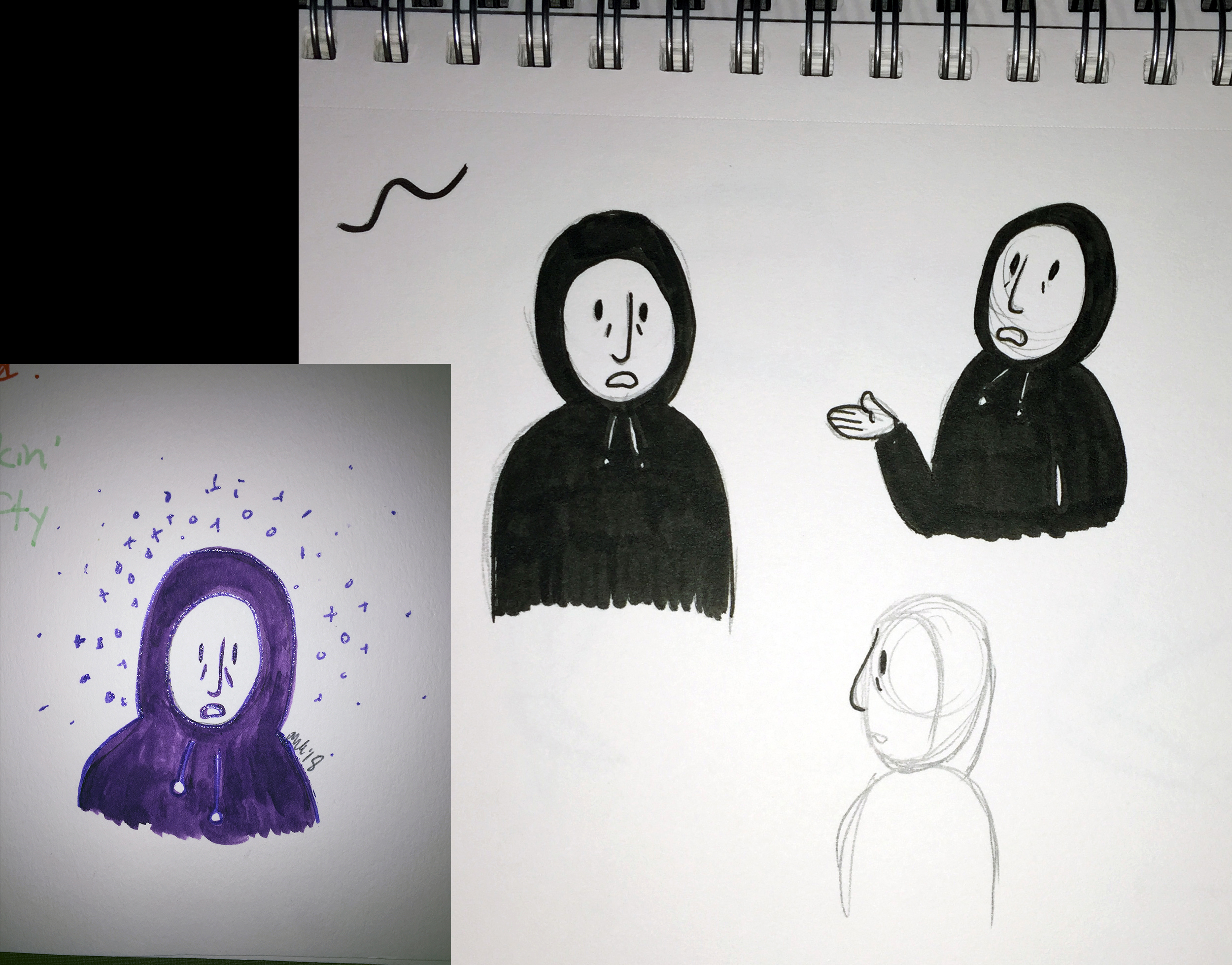 The first doodles of the main character, loosely based off my sister in a hoodie. It looks more like what her voice sounds like than what she looks like.