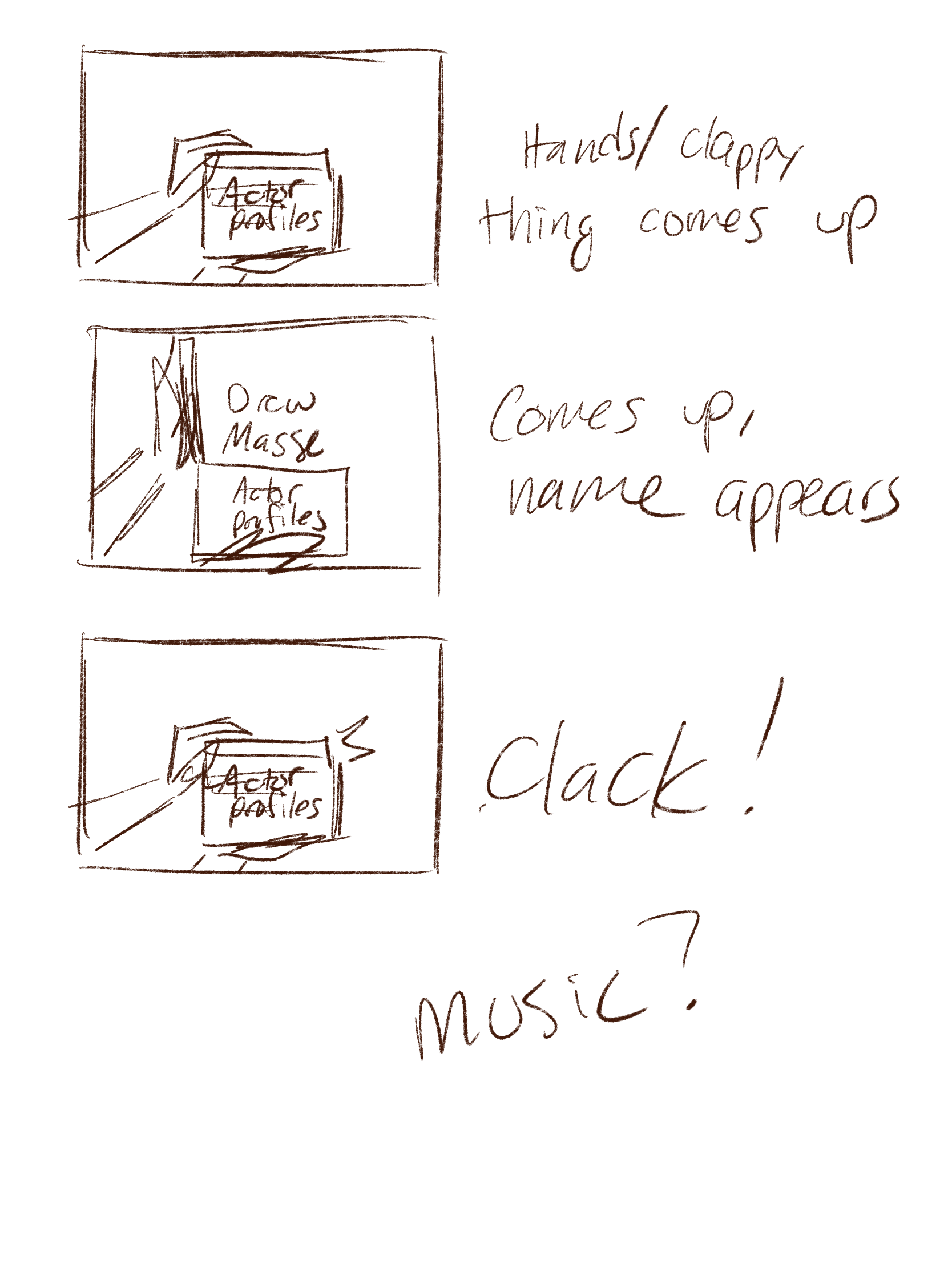 My first sketches of the opening title animation.