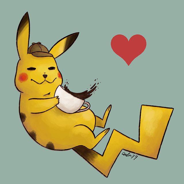 He sure is a special guy!!! . . . #detectivepikachu #detectivepikachumovie #pokemon #pikachu #coffee #illustration #procreate #ipadproart #nintendo #heart #cute #artistsoninstagram #fanart