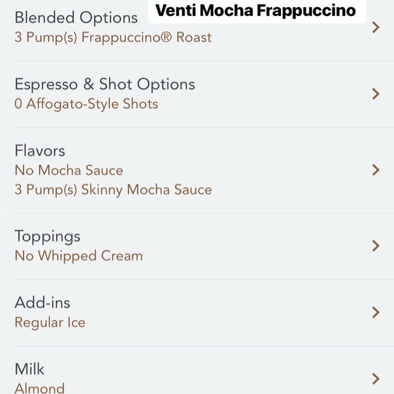3 Low Calorie Venti Mocha Starbucks