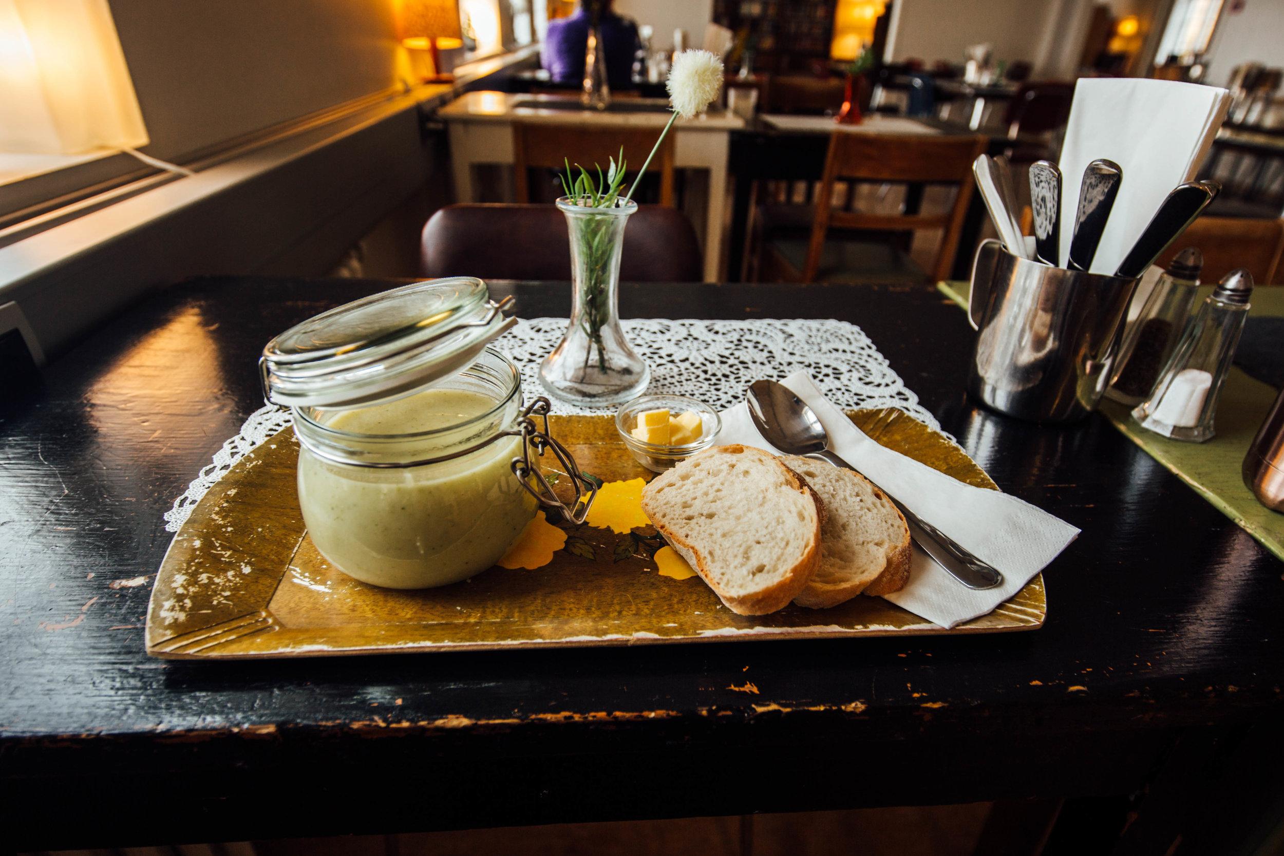 Amazing broccoli and calliflower soup at Heradsskolinn Hostel