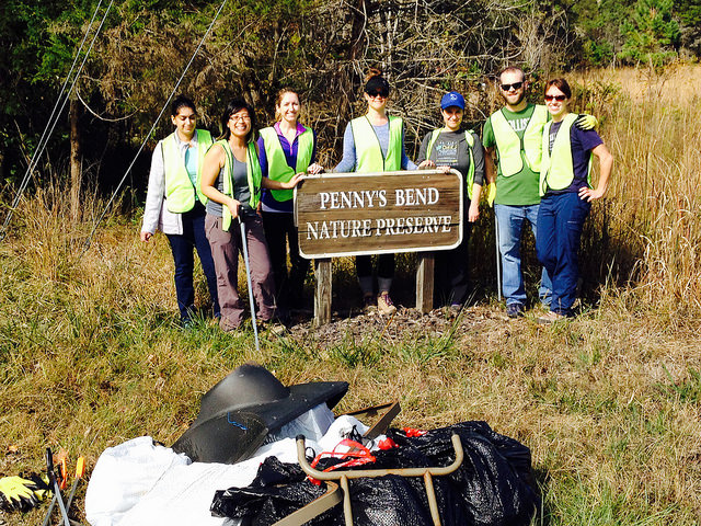 Volunteers from Greenpeace Associates collected 160lbs of trash from Penny's Bend Nature Preserve for Big Sweep 2017!