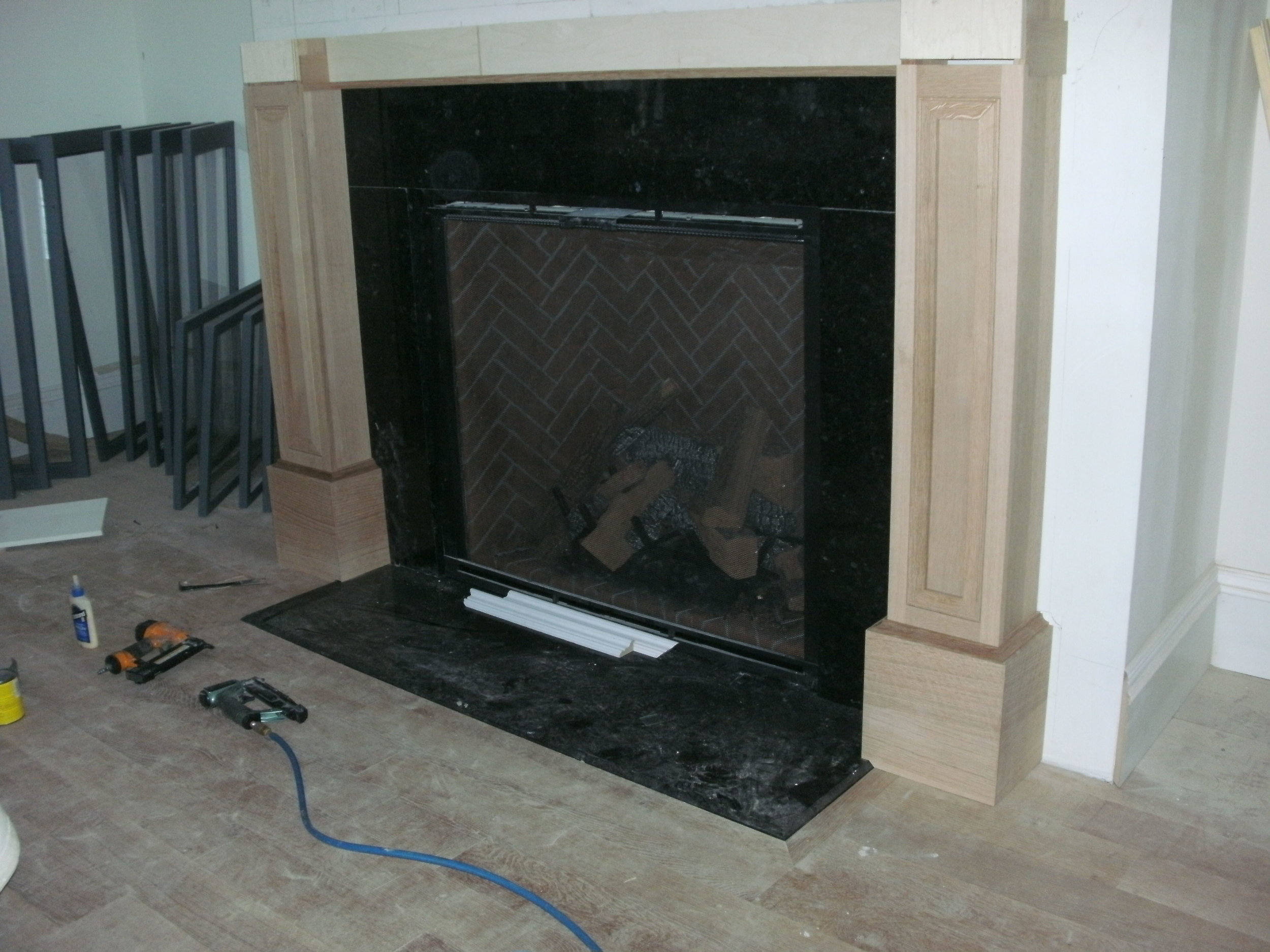 Side Legs Installed on Fireplace Surround