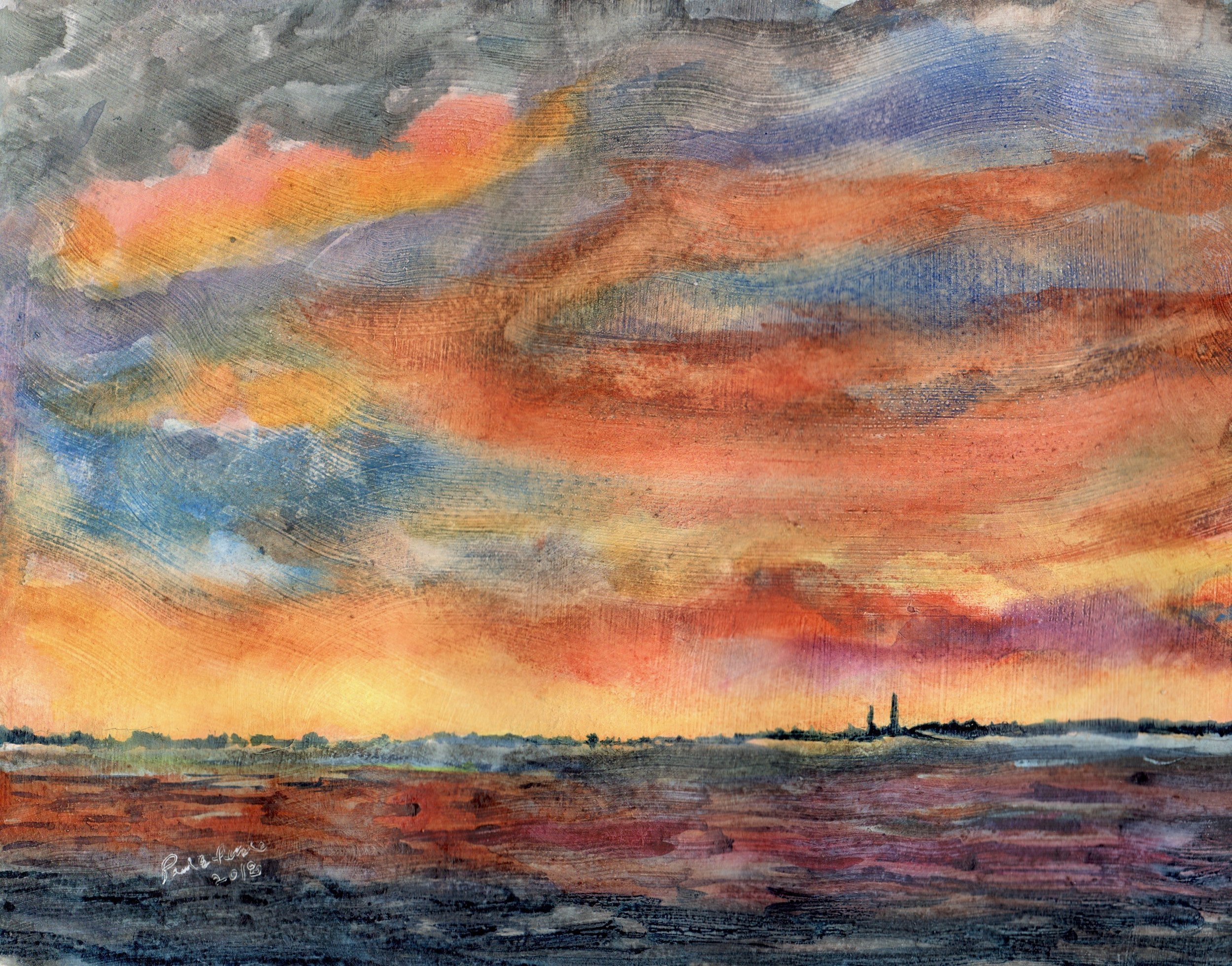 Indian River Bay Sunset  Medium: watercolor on gesso coated cotton paper
