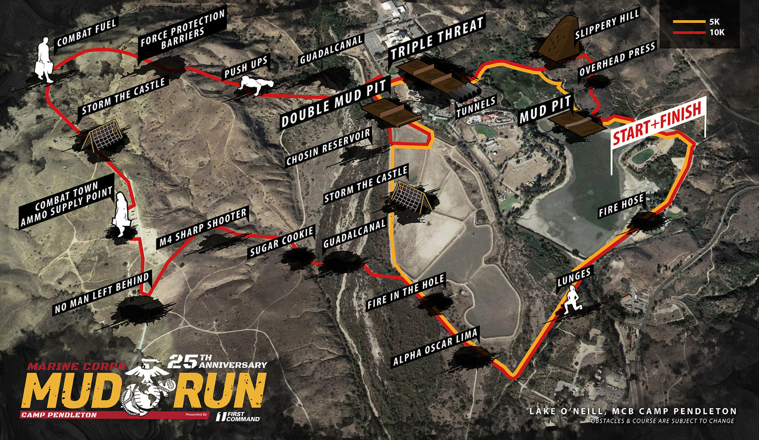 Marine Corps Mud Run Obstacle Map