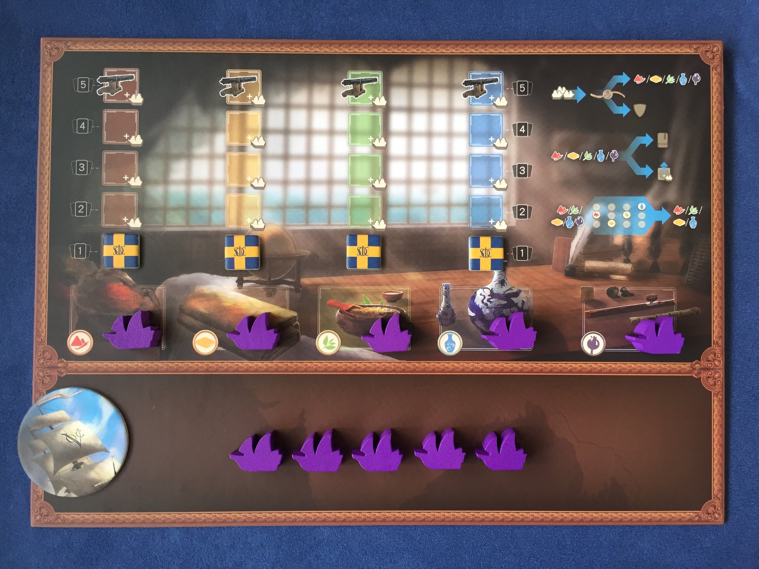 4 identical player boards. The 5th player expansion comes with purple ships!