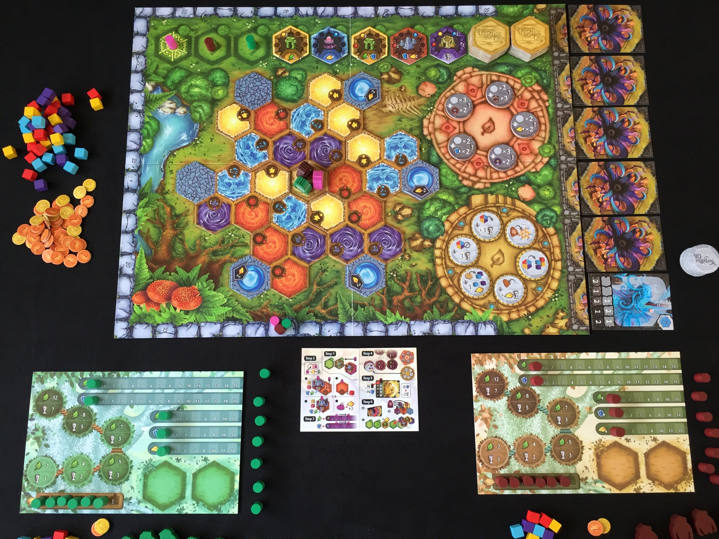 The board set up for a 3-player game!