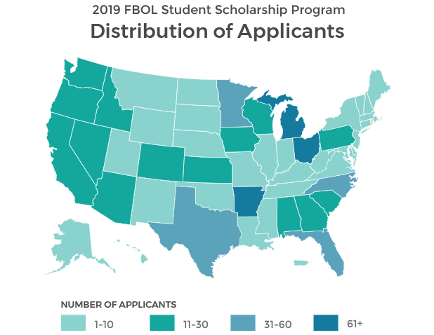 For the 2019 Student Scholarship Program, we had 1,748 applicants from all 50 states as well as Washington D.C. and Puerto Rico.