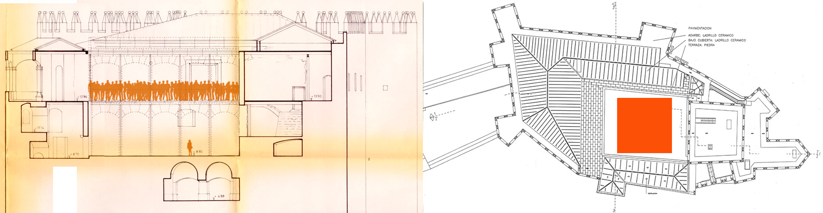 Elevation and plan of the Patio de Honor illustarting the size of the installation.