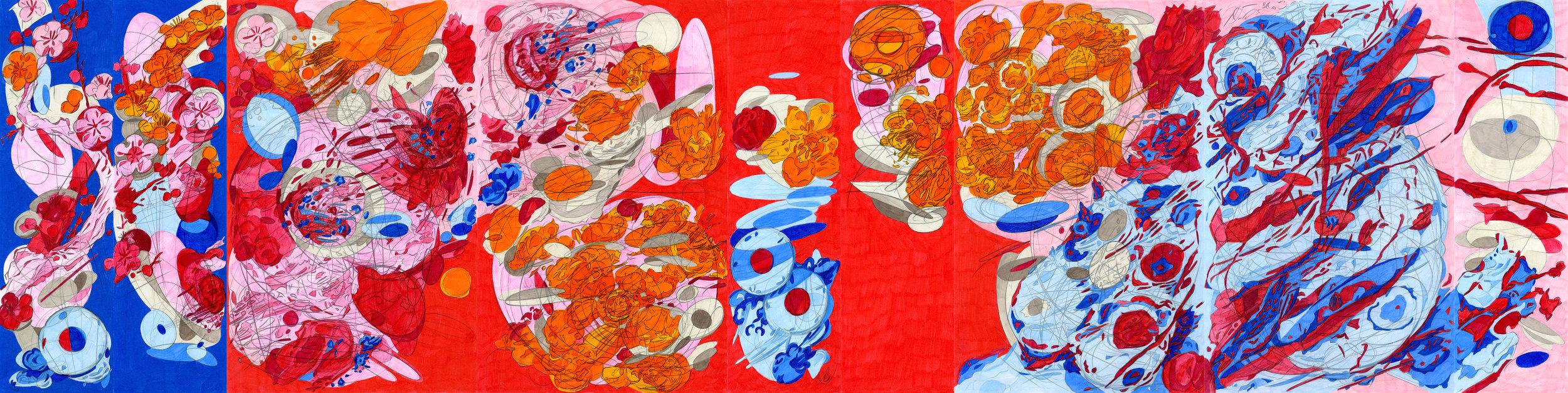 Double Self Split Colour 3, coloured pencil on paper, Melissa Marks.