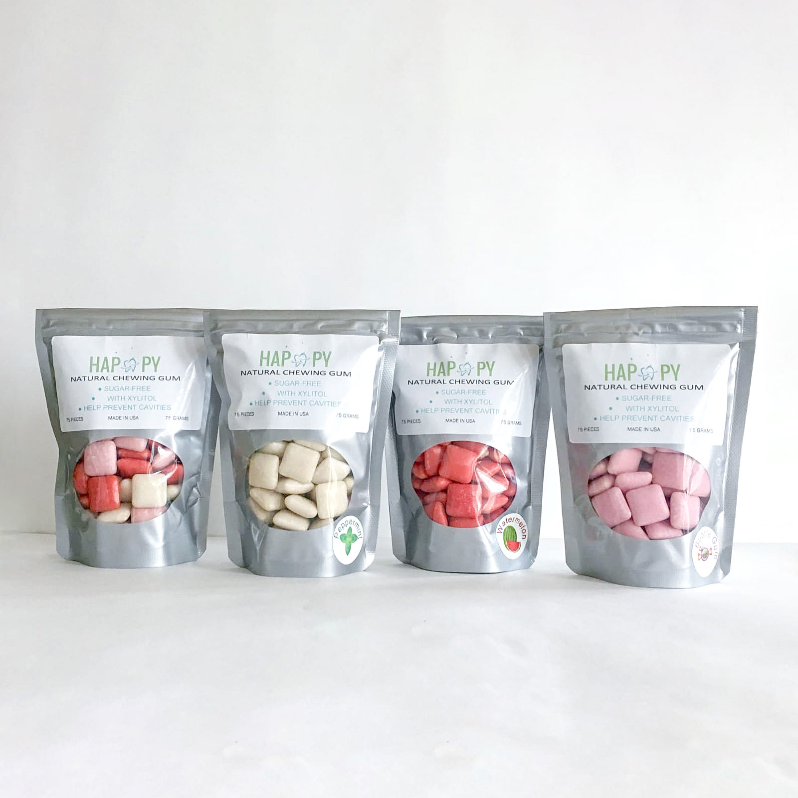 Natural Chewing Gum Sugar-Free with Xylitol - Flavors:PeppermintBubble GumWatermelonAssorted MixIt is a perfect compliment to our HAPPY Tooth Powder, Tooth Paste, and Mouth Rinse. Gum will help prevent cavities and increase saliva production while chewing between meals.* no artificial colors, flavors, sweeteners, or preservatives