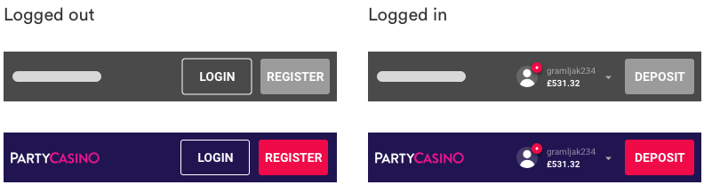 Mobile headers: wireframes from generic library vs. Party Casino library