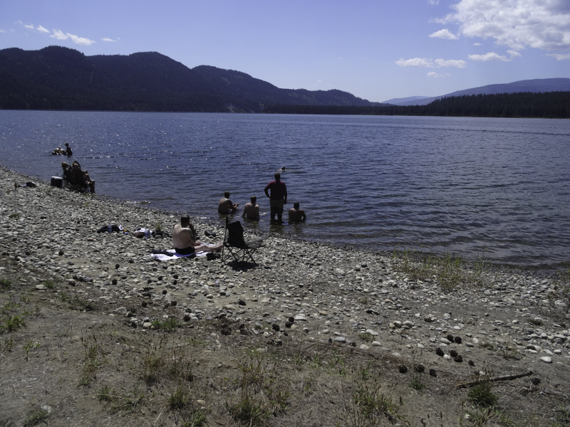 Some of the boys enjoy the cool and very refreshing lake after a day ride and hot afternoon.